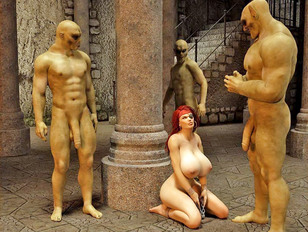 Sexy girl forced to suck and fuck ogres