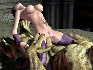 Slutty dark elf babe handles all kinds of monster cocks
