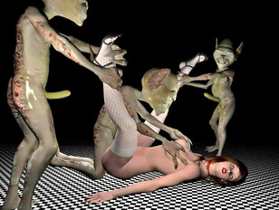 Kinky alien forms using hot babes for breeding