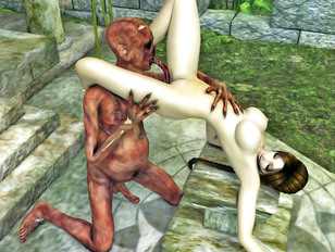 Hot babe nailed from behind by a horny demon
