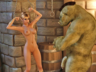 Busty elven hottie imprisoned by a horny orc