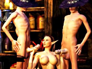 Kinky threesome with a sex loving elf slut