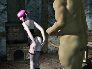 Horny ogre enjoys fucking a wild babe