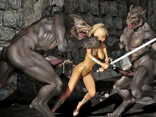 Sexy warrior 3d babe captured and fucked by two werewolves