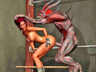 Slutty girl enjoys fucking a demon