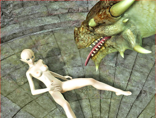 Slutty blonde elf lets her pet dragon lick her pussy