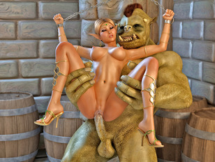 Sex starved orc nails a helpless elf girl