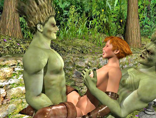 Two wood trolls drill hottie with their wood