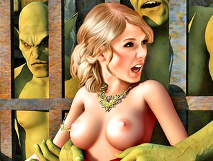 Amazing 3d monster porn with a caged blonde