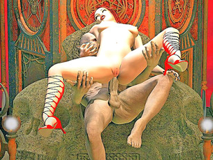 Horny demons in a wicked orgy with slave girls