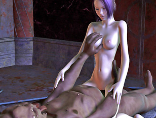 Alien monster stuffs babe's holes with tentacles