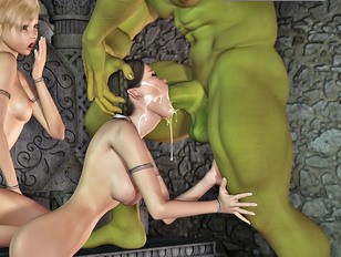 Horny ogre cums into hot girl's mouth