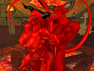 Demonic 3d babes with posh bodies were fucked hard