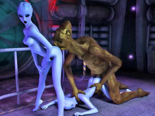 Two blue skinned alien girls share on cock