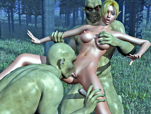 Two orcs capture and rape a beautiful elven huntress