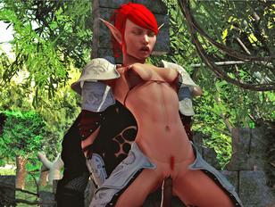 Kinky demon lord face fucks a hot dark elf