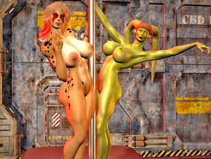 Busty alien chicks perform a hot striptease on stage
