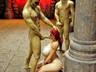 Redheaded pirate girl captured and mouthfucked hard
