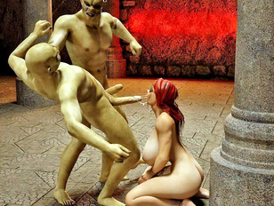 3d demon sex with one eyed girl and two monsters