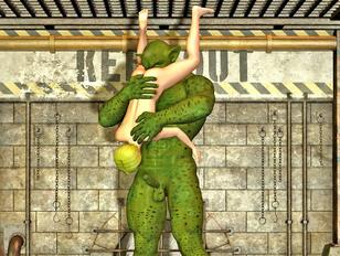 Horny green monster female fucking a giant's toe