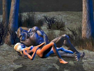 The moon fades away – xxx babe raped by werewolf