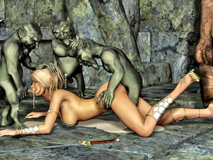 Elven cutie gets brutally raped by goblins