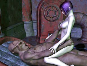 Lusty babe tries out Frankenstein's new and improved cock