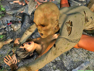 Two horny zombies rape a lovely brunette