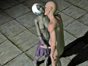 Two aliens examining a hottie with their cocks