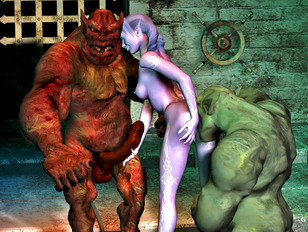 Pretty elven girl double teamed by ogres