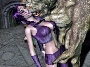 Kinky threesome with a hottie and two monsters