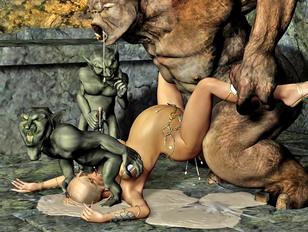 Merciless monsters raping lovely girls