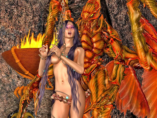 Phoenix rises to fuck and impregnate his guardian priestess