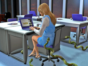 Tentacle monster attacks hot babe in the office