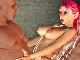 Caught elf cutie getting raped by two wicked demons
