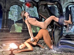 Dark demon possesses and fucks two hotties