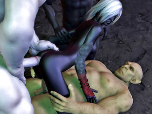 Insatiable dark elf drilled with two cocks