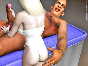 Kinky threesome with a horny giant