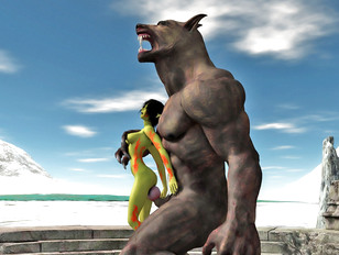 Cute babe attacked and raped by a giant werewolf