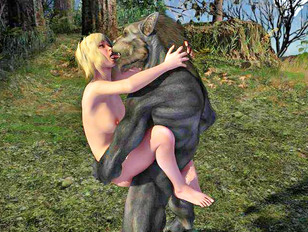 Sexy girl deep dicked by a werewolf