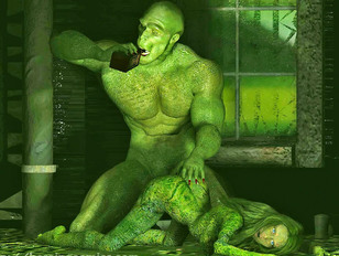 Busty redhead abducted and fucked by swamp monster