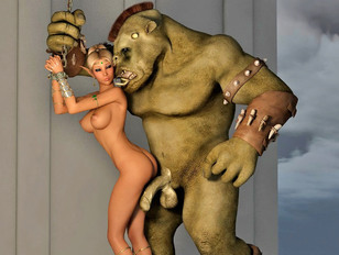 Hot babe brutally double penetrated by minotaurs