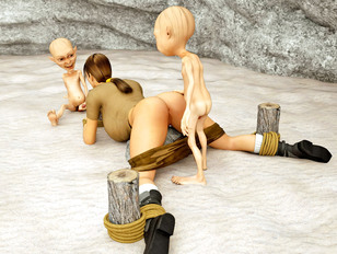 Tied up brunette forced into a goblin gangbang