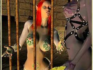 Kinky monsters keeping a hot elf as a sex prisoner