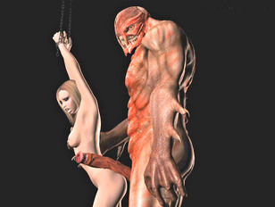 Pretty girl chained and brutally fucked by a demon