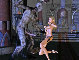 Horny monster forces a sweet elf into rough sex