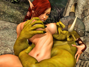 Ripped ogre gets a slutty elf riding on his huge cock