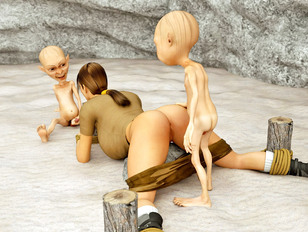 Bound brunette gets double drilled by goblins