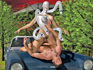 Horny alien probes girl's every hole outdoors
