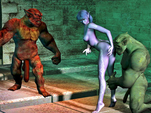 Hot night elf mage violated by two ogres